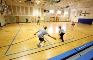 Pickleball in a gym